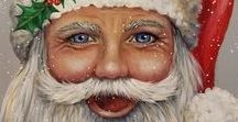 Santa Claus Portraits / Paintings of Santa #Christmas