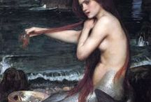Water Nymphs / (Hydriades or Ephydriades) //       Haliae (sea and seashores):         Nereids (50 daughters of Nereus, the Mediterranean Sea);     Naiads or Naides (fresh water):         Crinaeae (fountains),         Eleionomae (wetlands),         Limnades or Limnatides (lakes),         Pegaeae (springs),         Potameides (rivers);             Tágides (Tagus River):     Oceanids (daughters of Oceanus and Tethys, any water, usually salty)