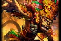 Hun Batz │The Howler Monkey God / The howler monkey god was a major deity of the arts - including music - and a patron of the artisans, especially of the scribes and sculptors. / by SMITE: The Game
