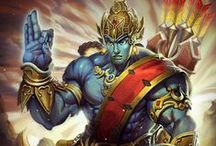 Rama │Seventh Avatar of Vishnu / Ravana's immortal reign subjugates the people. Shiva's boon grants the demon-king invulnerability against gods and beasts. Only mortal men stand a chance of defeating him, but Ravana's might is too potent for a mere man to overcome. / by SMITE: The Game