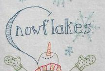 fiber: embroidery: snow / i think i'd like to do a blue-work quilt / by Leigh Lindahl