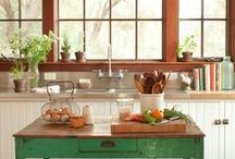 Kitchen & Pantry / Vintage kitchens, retro cooks, designing a kitchen space, building a kitchen, antique inspiration and things that would look great in a kitchen.
