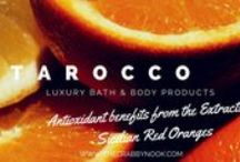 Luxury Bath & Beauty / TAROCCO - Products filled with hydrating benefits from the extracts of Italian OLIVE OIL and the strong antioxidant benefits from the extracts of Sicilian RED ORANGES.  E.VULCANO - Featuring Sicilian Lemons.  Each product features the following volcanic minerals:  Copper, Magnesium and Zinc.  / by The Crabby Nook