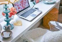 Home Office Design / Office decor, interior design, interior styling, office style, home office, eclectic, bright home decor