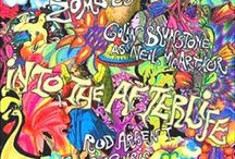 Psychedelic vogue / The Psychedelic revival. Cosmos, psychic and liquid bold prints, neon, blacklight, 60-70s fashion, Psychedelia era osv. Fantasy run free!