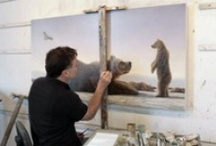 Robert Bissell / Artist Robert Bissell's artistic goal is to take viewers to a place of increased awareness, even if only fleetingly. To do this, he paints serene landscapes inhabited by magical creatures—often creatures that stand on two legs, mirroring human existence. His paintings invite a childlike sense of wonder, an appreciation for our precarious connection with the natural world, and a contemplation of life's transitions and mysteries.