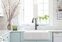 Kitchens- Modern Farmhouse / apron sink, subway tile back splash, SS, industrial light fixtures, white cabinets, neutral grey with pops of color, mix of retro and modern accessories, open shelves / by Kat McCurdy