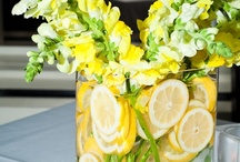 Weddings in Shades of Orange, Yellow and Green / A collection of wedding dresses, shoes, decorations, cakes, invitations, stationery and other ideas for a theme of fruits, orange, yellow and green