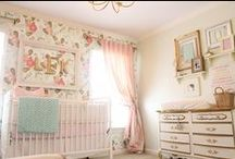 Baby Nursery / My dream baby girl nursery: Lots of white with pops of mint and coral and a little pink.