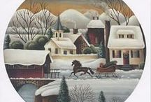 """Betty Caithness American Folk Art / Betty Caithness' popular designs of American Folk Art can't help but evoke memories of Courier and Ives and """"Grandma Moses"""" paintings. In these traditional patterns you will find quaint village scenes, horse drawn carriages, covered bridges, water mills and lush rolling hills. Many of her patterns depict a holiday or season of the year and can be applied to virtually any surface."""