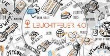 """Grafik #feuer40 MOOC / Als Unterstützerin des Leuchtfeuer 4.0 MOOC habe ich auf der Basis eines Storytellings zum Kartografieren des zukünftigen """"Neulandes"""" Arbeit und Bildung 4.0 verschiedene Werkzeuge als Icons umgesetzt und verschiedene Themen als Sketchnotes. Den MOOC findet man hier http://mooin.oncampus.de/feuer40"""