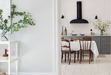 Living Room and Kitchen / Stunning kitchens and cozy living rooms. Lots of white, marble and comforting textures