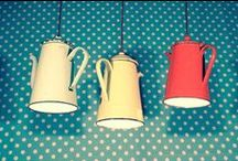 Kitchen utensil lighting / Be creative with your kitchen lighting and use kitchen utensils with light bulbs to make a statement!