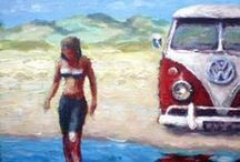 David French / British artist, born in Morecambe in 1963. David has  painted memories of his trips abroad, but his focus now, is travelling around the UK in his 1970's Voltswagen campervan, and capture the atmosphere of the great British sea-side resort. / by Art Cove Greeting Cards and Blog
