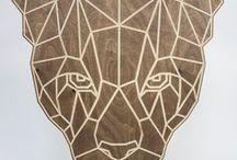 Interior birch plywood wall art / Beautiful & unique geometric big cat wall art carved from Birch plywood. #birch #plywood #wall #art #bespoke #furniture