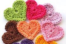 Crochet Hearts / Crochet hearts: individual hearts, crocheted heart blanket, crocheted tiny hearts stitch,crochet heart ornament,crochet heart sachet, / by Sara Rivka Dahan