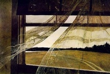 Andrew Wyeth / Wyeth started drawing at a young age. He was a draftsman before he could read. By the time he was a teenager, his father brought him into his studio for the only art lessons he ever had. N.C. inspired his son's love of rural landscapes, sense of romance and artistic traditions.  With his father's guidance, he mastered figure study and watercolor, and later learned egg tempera. He studied art history on his own, admiring many masters of Renaissance and American painting, especially Winslow Homer. / by Brad Green