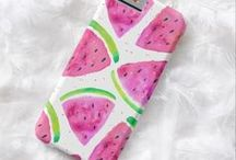 Designer Phone Cases / Designer phone cases with watercolour patterns, hand lettered quotes and fun, bright colours. These make great gifts for teens and adults.