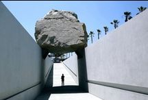 The Making of Levitated Mass / Levitated Mass by artist Michael Heizer is composed of a 456-foot long slot constructed on LACMA's campus, over which is placed a 340-ton granite megalith. At 340 tons, the boulder is one of the largest megaliths moved since ancient times.  / by LACMA
