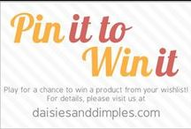 Pin It to Win It w/Daisies & Dimples.com! / Lots of fun at D&D!  Create a board at your Pinterest wand pin a product from each of the D&D designer shops. A random winner will be chosen to receive a product from her/his wishlist. •••Winner will be chosen on Aug 25th to receive a coupon for the product. / by Valerie Barmakian Haddock