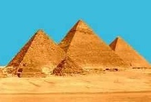 """Pyramids / """"From the heights of these pyramids, forty centuries look down on us."""" ~Napoleon Bonaparte / by Nanette South Clark"""