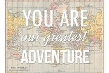 "Baby's Adventure-themed Room / Ideas for our baby's room (due 7/4/15). Theme of 'adventure' revolving around the framed pic ""You are our greatest adventure"". Color combo: gray, yellow, orange, aqua/teal, mint (colors of a globe)."