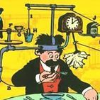 """Rube Goldberg / """"Professor Butts walks in his sleep, strolls through a cactus field in his bare feet, and screams out an idea for a self-operating napkin."""" ~Rube Goldberg"""
