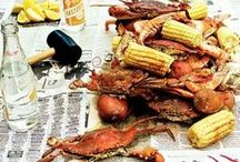 Crustaceans / Lobster bake, crab picking, clam bake - ideas for a special dinner - with a dash of nautical too!