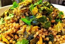FOOD: Great Grains / Rice, quinoa, cornmeal, spelt, millet, barley, farro, couscous, etc.. Grains plain and grains with veggies. If you stir in beans or another protein, most of these transform instantly into vegetarian bowls. If not, they're nice sides, or bases for something protein-heavy like tempeh or tofu to lay on top or on the side. / by Linda M