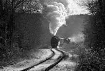 Put me on the train.............. / Black and white images of trains .rails, stations / by Bluebeard .