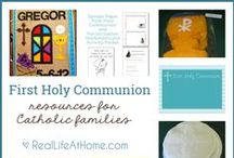 First Communion / All kinds of ideas for celebrating First Holy Communion! This includes, but is not limited to: First Communion activities, First Communion printables, First Communion invitations, First Communion party ideas, First Communion banners, and more!