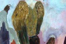 Eigen werk: schilderijen met verschillende materialen