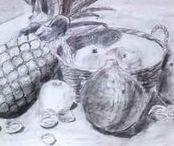 Eigen werk: tekeningen met verschillende materialen