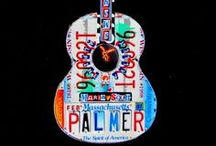 Guitar art - License Plate Art - Acoustics / Custom acoustic-style guitar art handcrafted from license plates. Unique guitar decor that can be personalized for each individual.