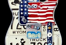 Guitar art - License Plate Art - Telecaster / Custom telecaster-style guitar art handcrafted from license plates. Unique guitar decor that can be personalized for each individual.