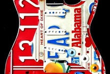 Guitar Art - License Plate Art - Stratocaster / Custom stratocaster-style guitar art handcrafted from license plates. Unique guitar decor that can be personalized for each individual.