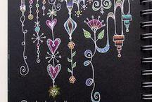 Doodling- On Black / Zentangles and doodling on black paper