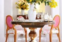 A Divine Dining Room. / Dine! Make every meal special. Blog Tags: tablescape, #centerpiece, table setting, place setting, formal dining, #gold, #crystal, #plate, #flatware, #silver, #silverware, #napkin, #tablecloth, #flowers, #floral, #bouquet, #entertaining, #hostess, #cater, #wedding, #event, dinner party, hors d'oeuvres, #candle, #candlelight, dining chair, dining room, dining table, pedestal table / by Sarah Sarna | SarahSarna.com