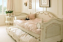 For the (dream) Home: Charming Bedrooms / The loveliest vintage and shabby chic spaces ... pastels, pinks, creams, whites, gold, baby blues / by Therese Brooks