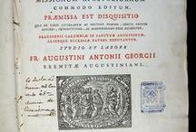 Alphabetum Tibetanum missionum apostolicarum commodo editum / L'Alphabetum Tibetanum és una de les obres produïdes per la impremta de la Sacra Congregatio de Propaganda Fide. El seu autor, l'ermità de Sant Agustí Antonio Agostino Giorgi, es especialista en llengües antigues i orientals. l'Alphabetum aparegut el 1762 constitueix una obra de gran volada, de caràcter no només lexicogràfic, sinó també geogràfic, històric, polític i religiós.  La còpia que presentem va pertànyer a la biblioteca del convent de Santa Mònica de Barcelona, dels agustins descalços.