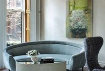 Interior Design / Interiors with texture beauty and warmth. Clearly what I think looks great is a wonderful painting in the background....you buy the painting first then you paint and collect to support the painting.....well that or get a green couch and do the same thing.
