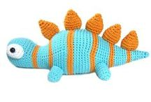 Dinosaur / Cute and adorable dinosaurs. Inspiration for crafts and home decor. Emphasis on toys for kids and children. Includes indie handmade makers: woodworking, stamps, knitted, crocheted and sewn.