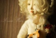 Little Gardener and Fox / Handmade air-dry clay doll, OOAK by Romantic Wonders