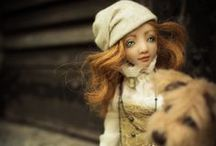 Art doll ''Kira and the dog'' / Handmade custom doll, one of a kind 2014