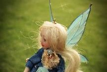 Little Fairy mini doll (11cm) by Romantic Wonders / Custom doll, OOAK cernit+super sculpey, clothes is silk, mohair hair handmade wings (liquid fimo)