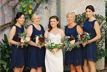 Bridesmaids Flowers / My wedding is scheduled for January 2016 and my bridesmaids dresses are navy blue lace. I am trying to figure out a tertiary wedding color that would work well with my primary color Navy and secondary color, gold.  / by Terra Cole