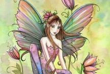 FAIRIES&FRIENDS~~~ / I HAVE FAIRIES ,AND GNOMES,AND WHATEVER I THINK GOES WITH THEM,ALL THRU MY HOUSE. / by Donna ~~~
