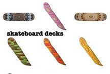 Skateboard designs by Celeste of Khoncepts.com / Conversational, eclectic selection of graphic artwork Skateboard deck designs by Celeste's of Khoncepts.com along with tips and tricks to hang extra boards or use skate boards as home decor.