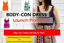 Bodycon Full Print Dress Designs with matching accessories / Trendy, body hugging dress designs with matching accessories, perfect for Female Hip Hop Artists, Pop Stars and more importantly you Fashion Divas, by Celeste Sheffey of Khoncepts.com #bandagedresses #Bodycondresses  Available in S, M, L, XL, 2XL sizes Bodycon fit Fully customizable Designs imprinted using an advance heat sublimation technique