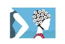 Vintage Surf / Retro swimming and wooden belly board surfing, synchronised swimming, lidos and wild swims, stripey wollen swimsuits and flowery rubber swim hats. / by Alison Bick Design